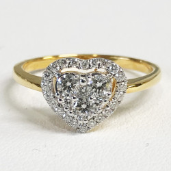 แหวนเพชรแท้ทองคำสีเหลือง 9k(ทอง 35%)