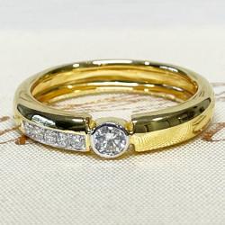 แหวนเพชรแท้ทองคำสีเหลือง 9k(ทอง 35%) ราคา 18,900 บาท